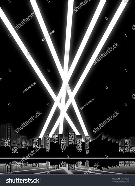 lights search city lights search lights shooting into stock vector