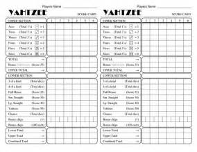 yatzee printable score sheets yahtzee score card all