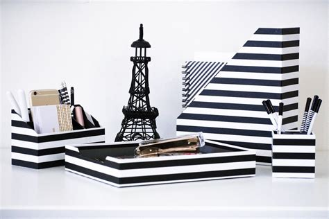 Black And White Desk Organizer 4 Piece Desk Accessories Black And White Desk Accessories