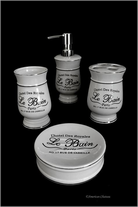 french bathroom accessories sets amazon com distressed 4pc black white vintage french