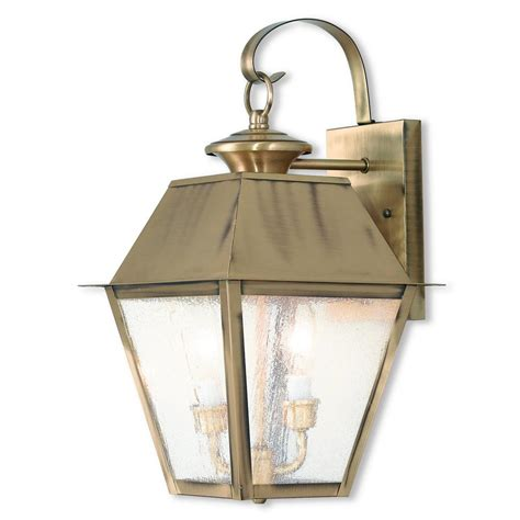 Antique Brass Outdoor Lighting Livex Lighting Mansfield 2 Light Antique Brass Outdoor Wall Mount Lantern 2165 01 The Home Depot