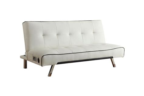white leather futon white leather futon with built in bluetooth speakers 500138