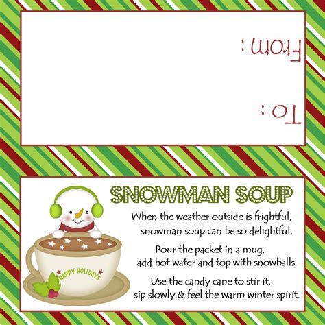 Christmas Party Poem - snowman soup treat bag topper sweetdesignsbyregan