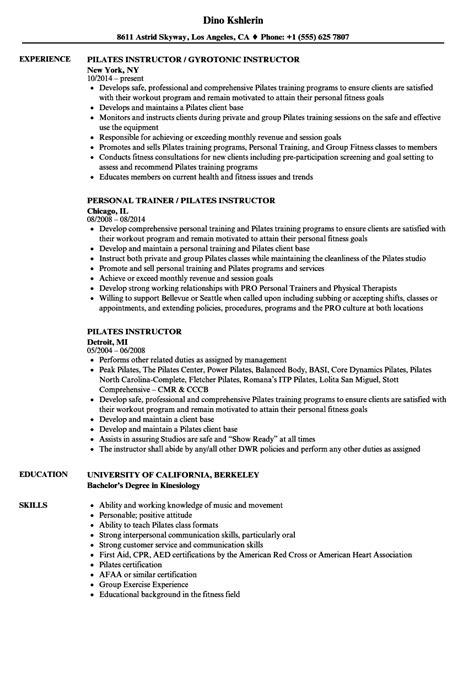 Teacher Assistant Job Duties Resume by Pilates Instructor Resume Samples Velvet Jobs