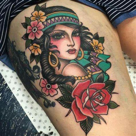 tattoo girl traditional traditional gypsy girl tattoo www pixshark com images