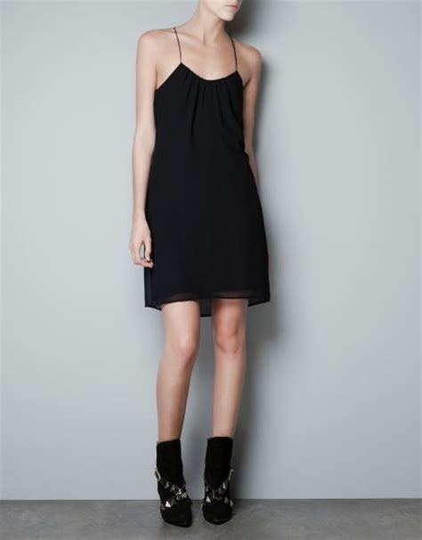 draped back dress zara draped back dress in black lyst