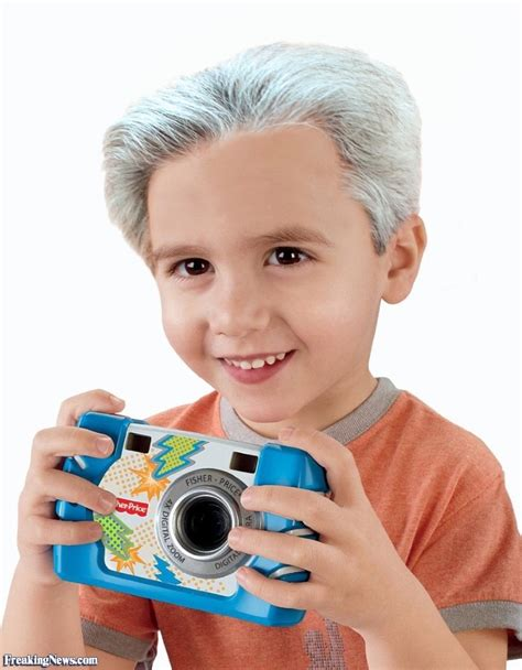 with grey hair child with grey hair and a camera pictures