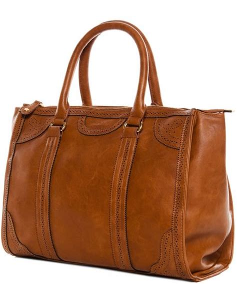 Pullbear Bag pull bowling bag in brown leather lyst