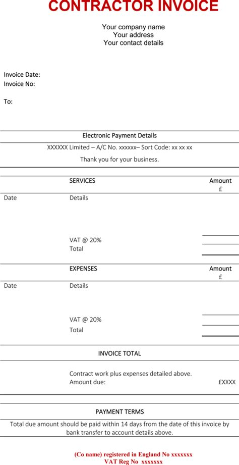 Contractor Invoice Template 6 Printable Contractor Invoices Builders Invoice Template Free