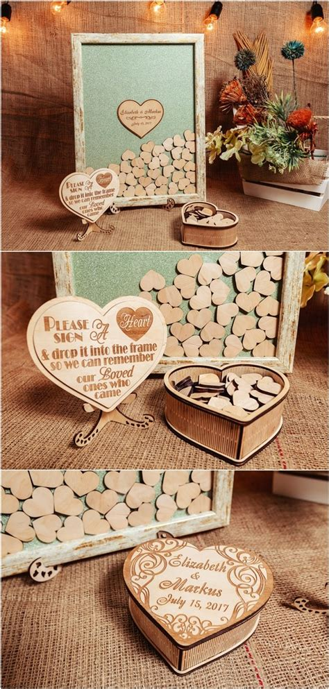 rustic wedding guest book ideas deer pearl flowers