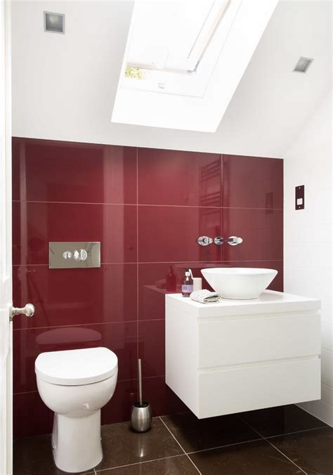 red and brown bathroom accessories make a statement with huge floor tiles decor advisor