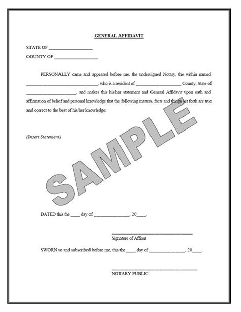 sworn affidavit sle free printable documents real