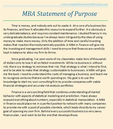 Mba Program Mission Statement by Sle Statement Of Purpose You May Not Realize It But
