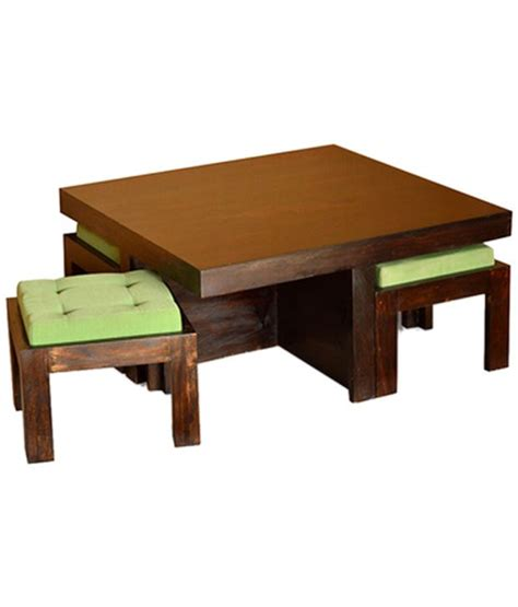 wood coffee table sets antiquity sheesham wood coffee table set honey buy at best price in india on snapdeal