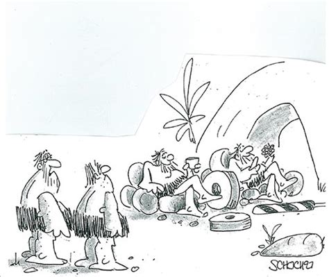 funny cartoons caveman wheel cartoons comical cave dwellers the saturday evening post