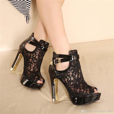 Project High Black sandals lace shoes platform white