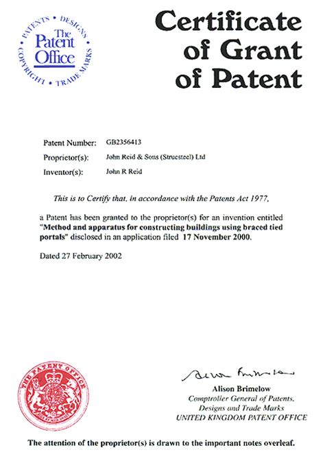 patent certificate template archspan steelwork patent