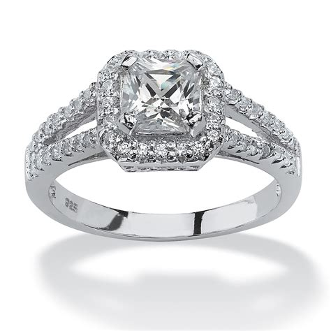 Cubic Zirconia Engagement Rings by 1 63 Tcw Princess Cut Cubic Zirconia Engagement Ring In