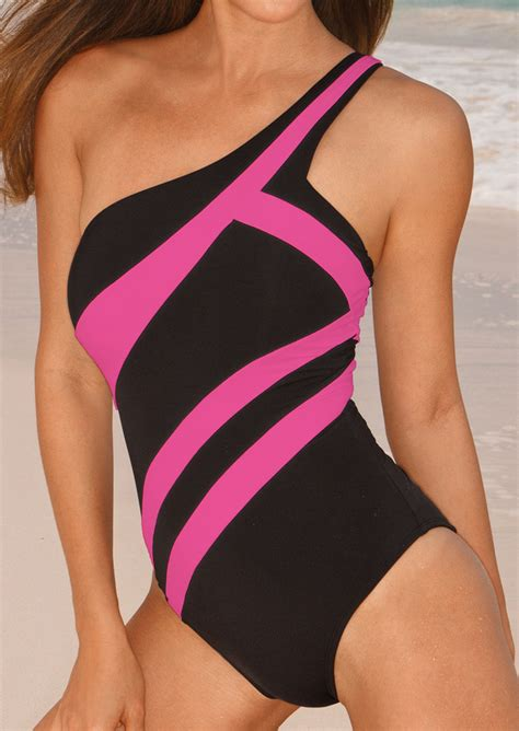 color block swimsuit one color block one shoulder one swimsuit bellelily