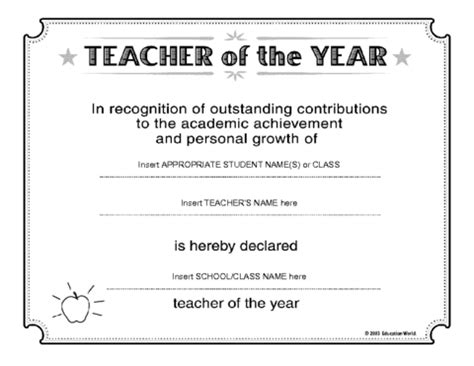 free certificate templates for teachers of the year award certificate template