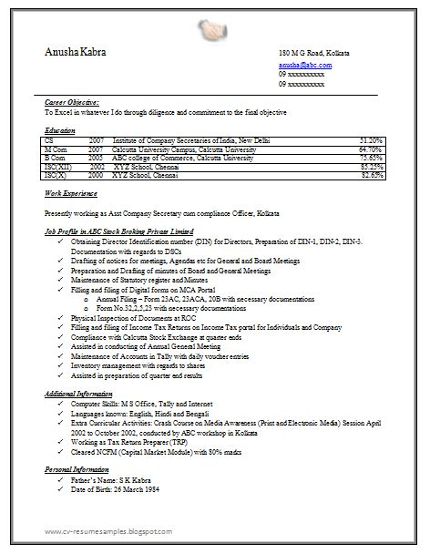 standard resume format for company 10000 cv and resume sles with free