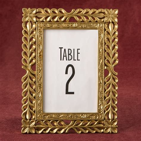 gold table number frames gold lattice photo table number frames