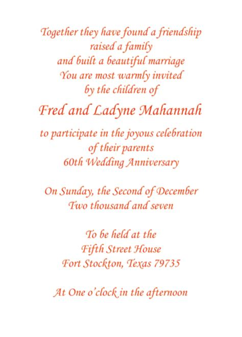 wedding anniversary invitation wording ideas print your own 60th wedding anniversary invitation wording