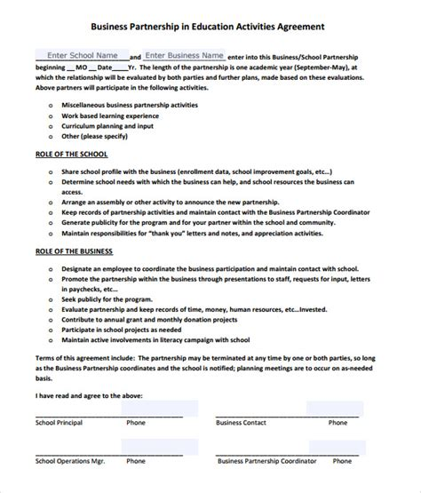 business partnership template sle business partnership agreement 9 documents in