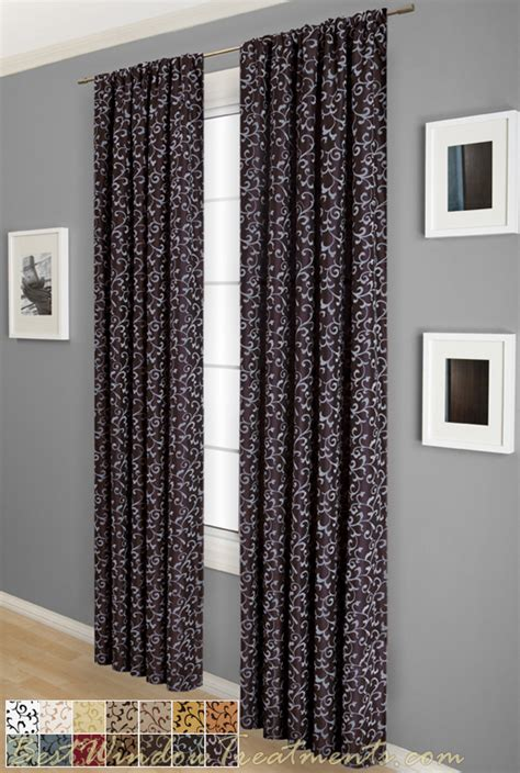 flocked curtains delano flocked scroll curtain drapery panels