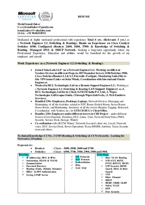 resume for network engineer with ccna resume ideas