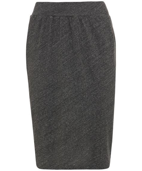 american vintage charcoal jersey pencil skirt in gray