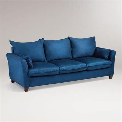 luxe sofa slipcover midnight blue microsuede luxe 3 seat sofa slipcover