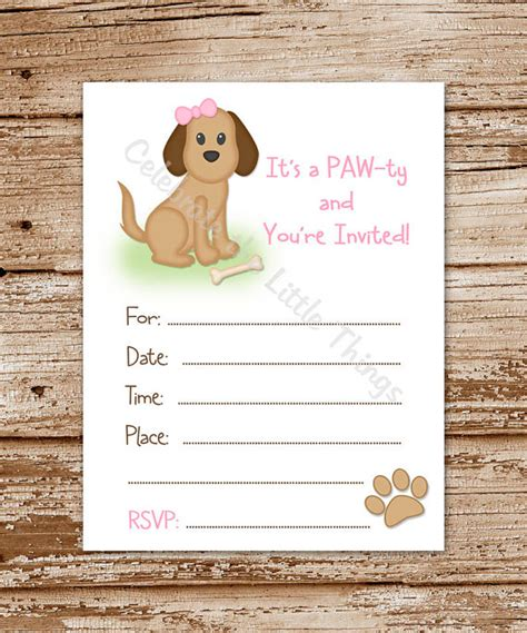 printable dog invitation puppy dog invitation for girls fill in the blank
