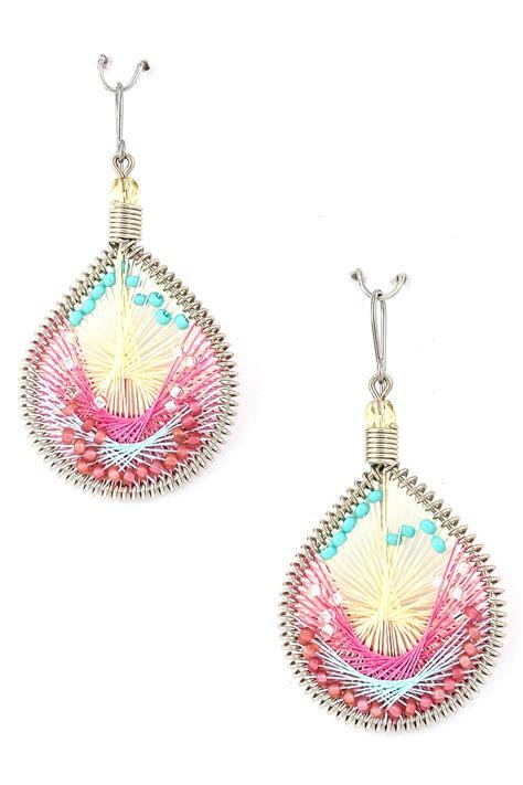 teardrop thread seed bead earring earrings