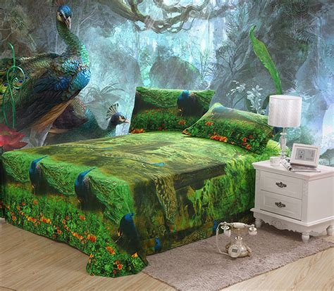 Peacock Blue Bedding Set Mife Green 3d Bedding Set Blue Peacock Printing Duvet Cover Bedding Set Duvet Cover Bed Sheet