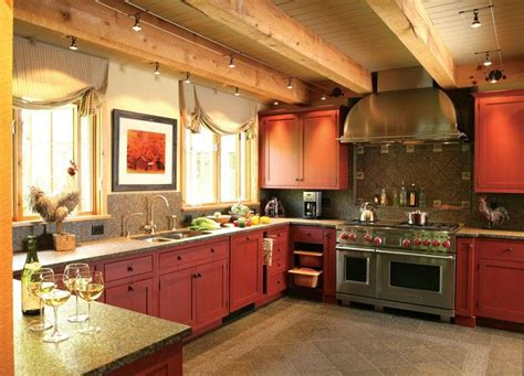 rustic red kitchen cabinets cozy country rustic kitchen by wendy johnson