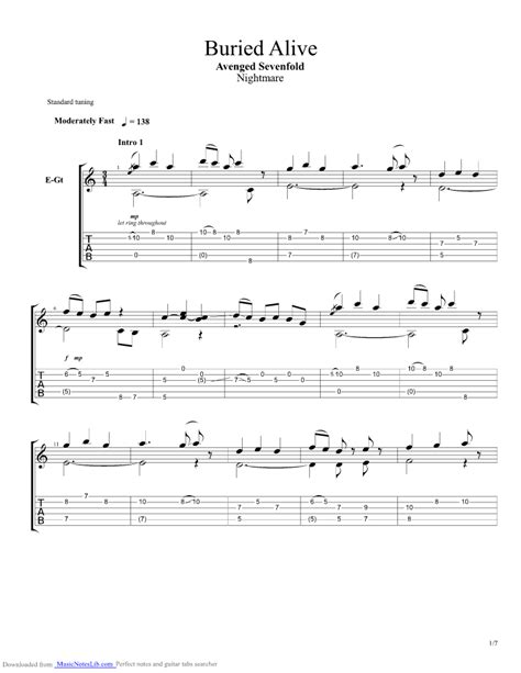 Buried Alive guitar pro tab by Avenged Sevenfold