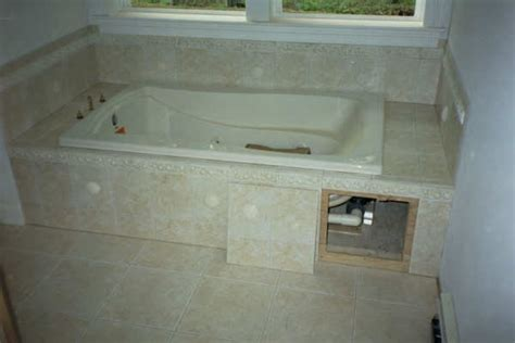 tiled access panels bathroom garden tub tile ideas re tile or wood for tub surround