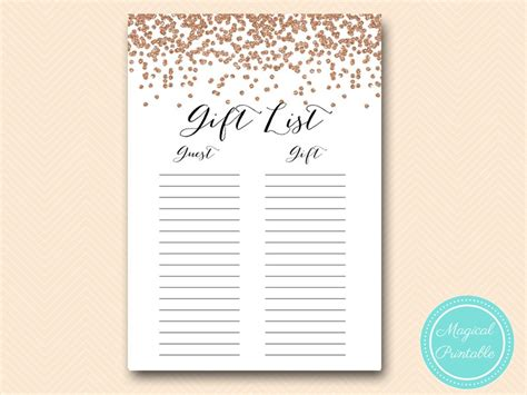 Wedding Shower Gift List Template by Gold Confetti Bridal Shower Magical Printable