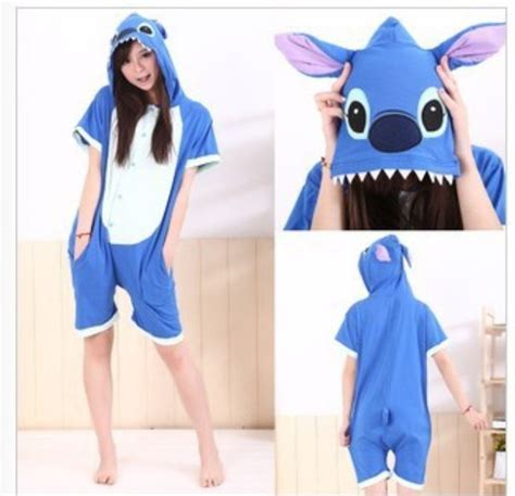 Dress Lilo Sticth Blue 2015 new arrival fashion anime unisex animal pajamas