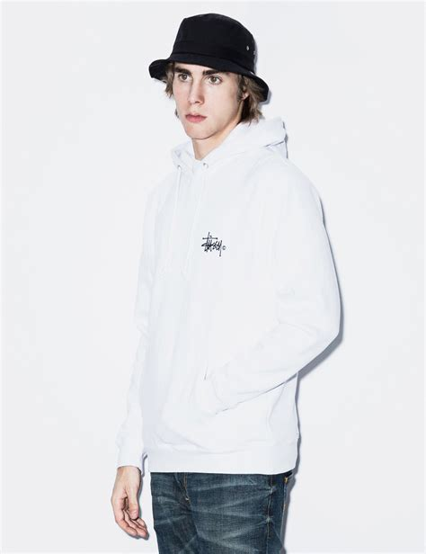 Pullover Hoodie Stussy Harmony Merch stussy white basic logo hoodie in white for lyst