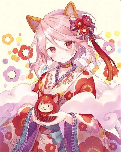 imagenes red japonesa fille kimono kawaii daruma chat dessin nimono