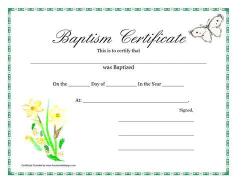 baptism certificate template download best and various