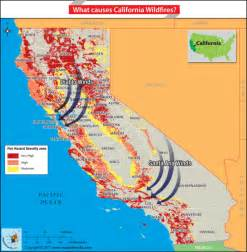 map of california highlighting the wildfire prone areas