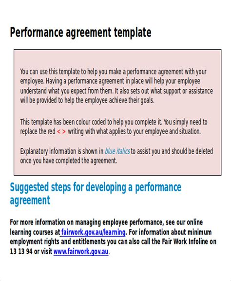 9 Performance Agreement Contract Sles Sle Templates Employee Performance Agreement Template Free