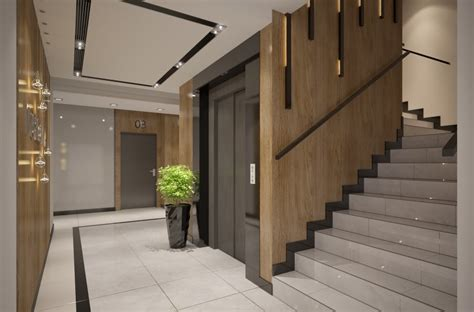 foyer of building entrance area of apartments building interior design