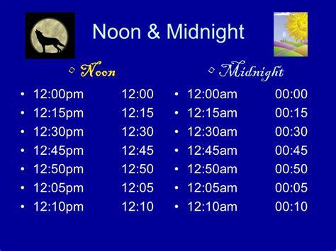 12 Past Midnight 24 hour clock grade 6 math ppt