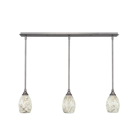 Brushed Nickel Island Lighting Cambridge 3 Light Brushed Nickel Island Pendant Cli 0053923 The Home Depot