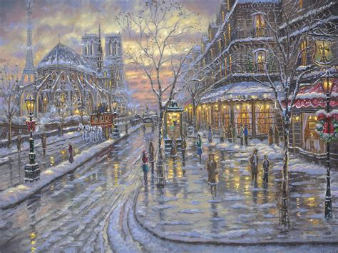 Christmas Scene Wall Murals christmas in paris by robert finale cv art and frame
