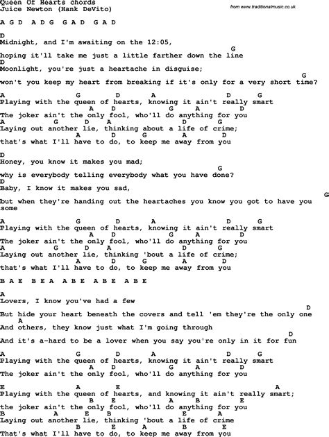 theme song queen of hearts song lyrics with guitar chords for queen of hearts